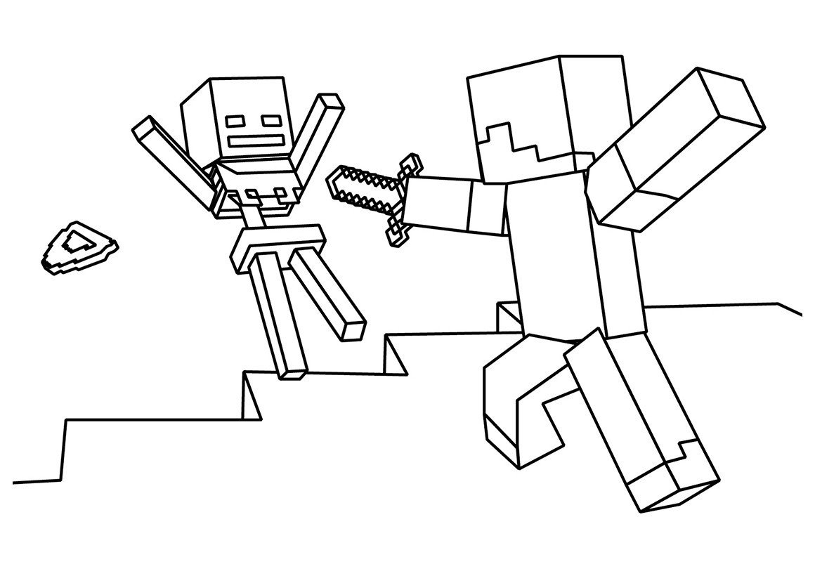 Раскраска Стив и Скелет