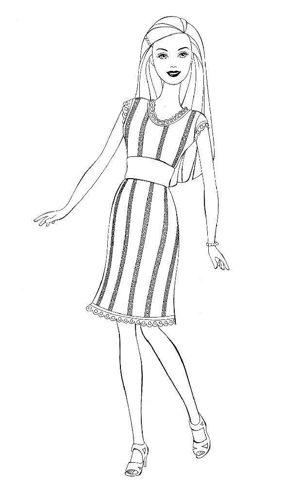 Раскраска Строгое платье Барби