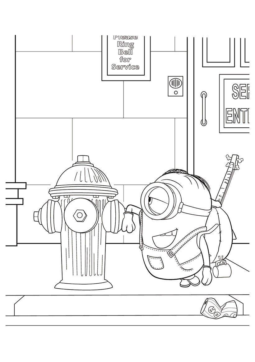 Раскраска Стюарт и пожарный гидрант