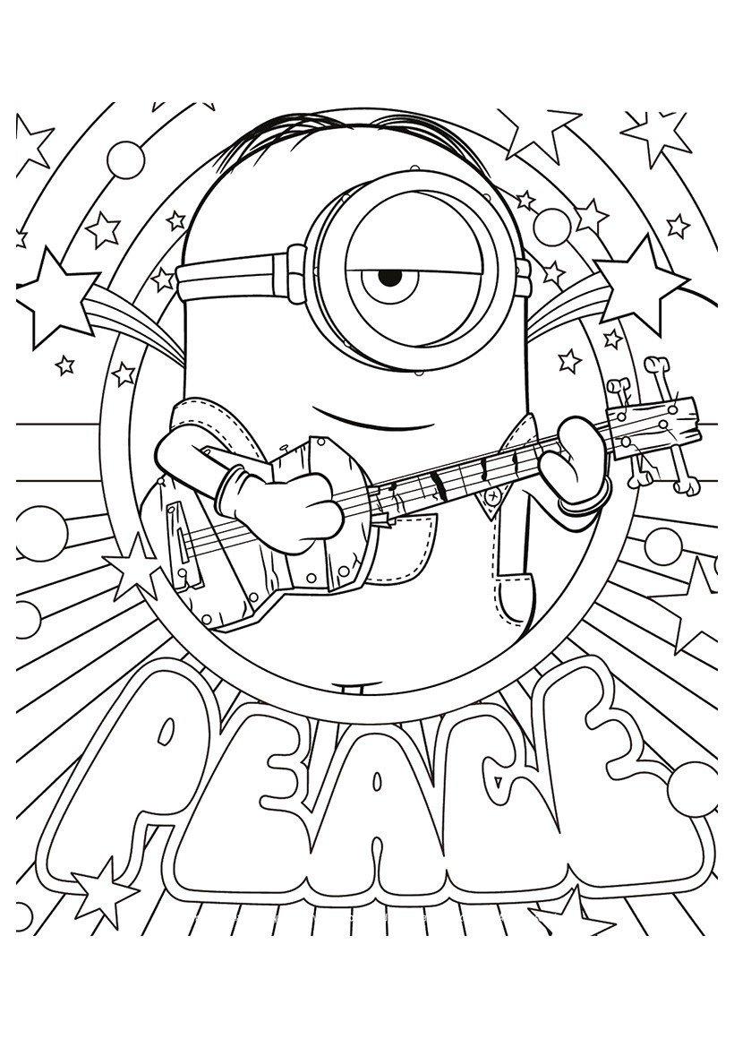 Раскраска Стюарт с гитарой