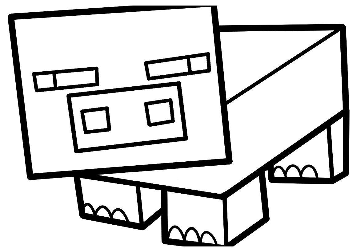 Раскраска Свинья Minecraft