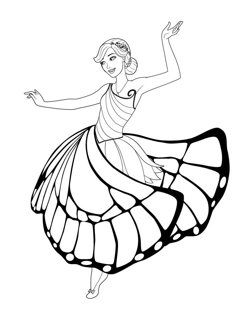 Раскраска Танец Барби
