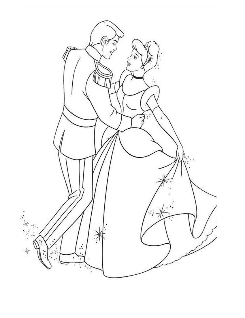 Раскраска Танцующие принц и принцесса