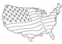 Раскраска Американский флаг в виде карты