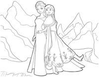 Раскраска Анна и Эльза вместе