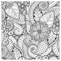 Раскраска Антистресс Дудлы и цветочный пейсли
