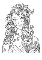 Раскраска Арт-терапия Девушка с цветочным венком