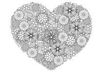 Раскраска Арт-терапия Цветочное сердце