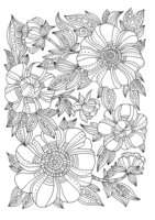 Раскраска Арт-терапия Зентангл цветы