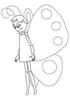 Раскраска Бабочка-девочка расстроена