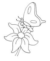 Раскраска Бабочка подлетела к цветочку