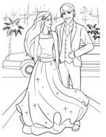Раскраска Барби и Кен на балу