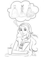 Раскраска Барби мечтает о платьях