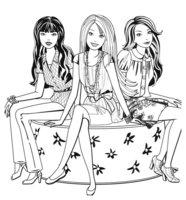 Раскраска Барби на лавочке с подружками