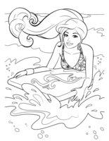 Раскраска Барби на море