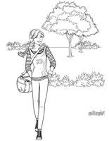 Раскраска Барби на прогулке