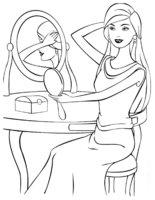 Раскраска Барби прихорашивается у зеркала