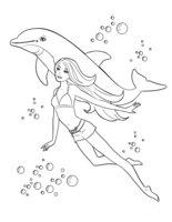 Раскраска Барби с дельфином