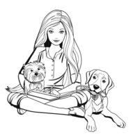 Раскраска Барби с двумя собачками