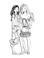 Раскраска Барби с подругой собрались на прогулку