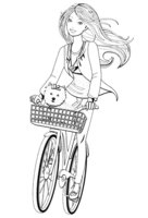 Раскраска Барби с собачкой на велосипедной прогулке