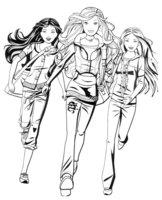 Раскраска Барби убежали из школы