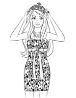 Раскраска Барби в стильном платье и короне
