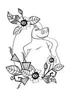 Раскраска Бегемотиха в цветах