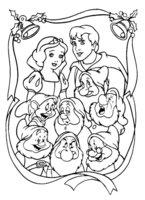Раскраска Белоснежка с принцем и гномами