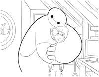 Раскраска Бэймакс обнимает Хиро