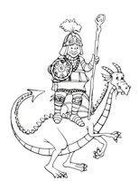 Раскраска Богатырь на спине дракона