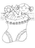 Раскраска Большой рождественский носок с игрушками