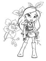 Раскраска Bratz на цветочной аллее