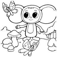 Раскраска Чебурашка пошёл по грибы