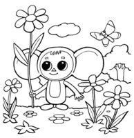 Раскраска Чебурашка с ромашками