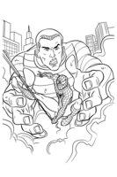 Раскраска Человек паук и Песочный человек