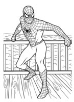 Раскраска Человек паук на берегу