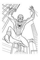 Раскраска Человек паук среди небоскрёбов