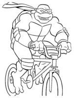 Раскраска Черепашка-Ниндзя на велосипеде