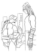 Раскраска Черепашка-Ниндзя разговаривает с человеком