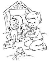 Раскраска Четыре щенка-далматинца