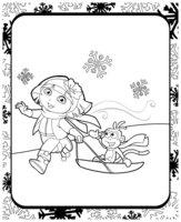 Раскраска Даша и Башмачок на санках