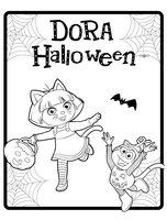 Раскраска Даша и Башмачок отмечают Хэллоуин