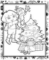 Раскраска Даша и Башмачок украшают елку