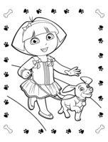 Раскраска Даша на прогулке со щенком
