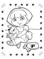 Раскраска Даша-путешественница и щенок