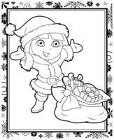 Раскраска Даша-путешественница с подарками