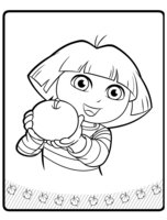 Раскраска Даша-путешественница с яблоком