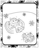Раскраска Даша-следопыт и обезьянка на снегу