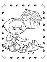 Раскраска Даша-следопыт играет со щенком
